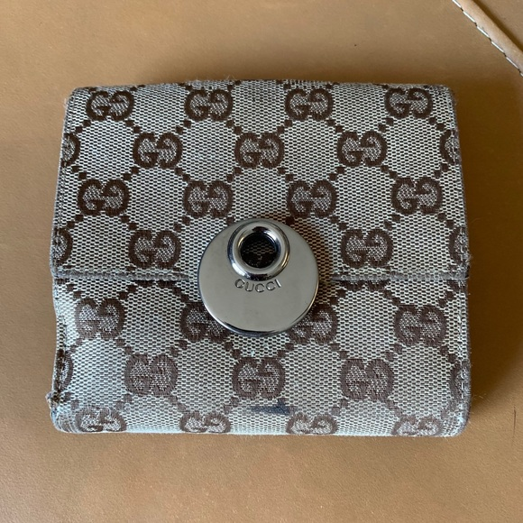 Gucci Handbags - Authentic GUCCI Compact Logo Canvas/Leather Wallet